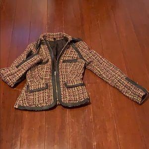 Bebe wool & leather zip up blazer!